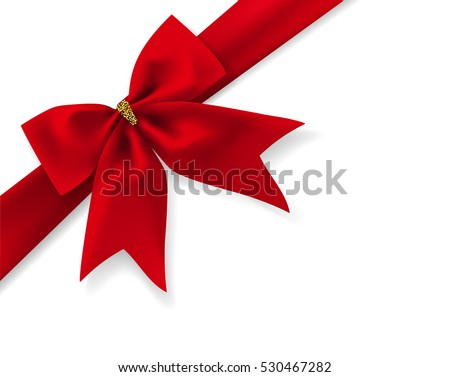 Beautiful red bow with ribbon and transparent shadow isolated on white background Vector illustration decorative element