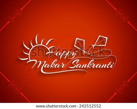 Beautiful red color background design of Makar Sankranti. vector illustration  - stock vector