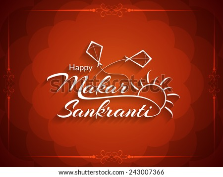 Beautiful red color background design of Makar Sankranti. vector illustration  - stock vector