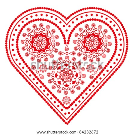 beautiful red fancy valentine heart isolated on white - stock vector