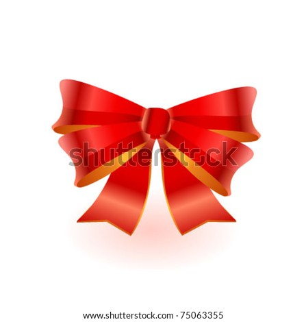 Beautiful red gift bow, isolated on white
