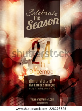 Beautiful red grunge blurry Christmas holiday party invitation - stock vector