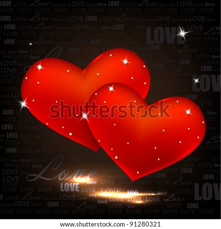 Beautiful red hearts with diamonds. Valentines day. Vector background - stock vector