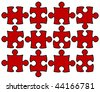 Beautiful Red Puzzle Vector - stock vector