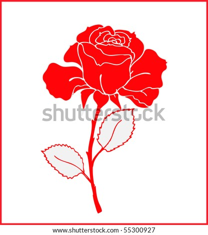 Beautiful red rose, vector illustration - stock vector