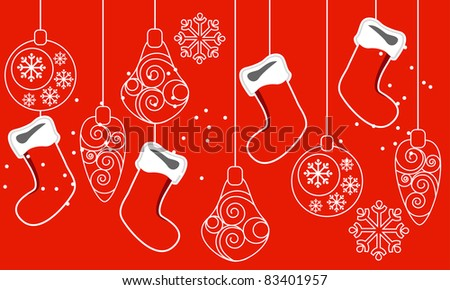 Beautiful red seamless Christmas pattern with hanging santa socks - stock vector