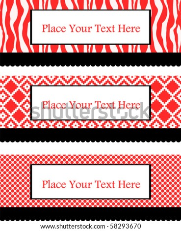 Beautiful red text banners - stock vector