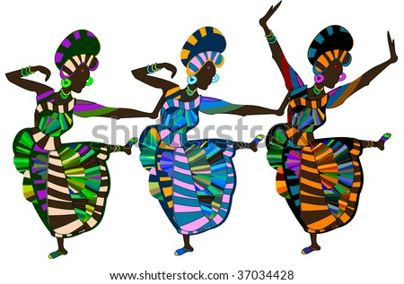 beautiful religious dance performed by women in ethnic style - stock vector