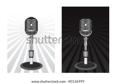 Beautiful Retro Black Vector Microphone - stock vector