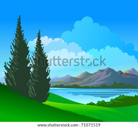 Beautiful Riverside  Pine Trees - stock vector