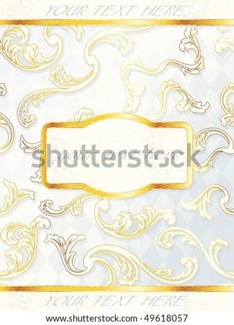 Beautiful rococo wedding label, includes transparencies (Eps10); JPG version also available - stock vector