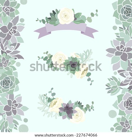 Beautiful romantic floral element set in white, violet and green color scheme with succulent, eucalyptus and roses  - stock vector