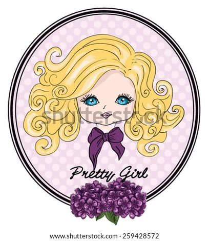 Beautiful romantic girl/cute girl/T-shirt Graphics/illustration princess girl/Vector Cute beautiful fashionable girl/Pretty girl/Girl illustration/frame postcard - stock vector