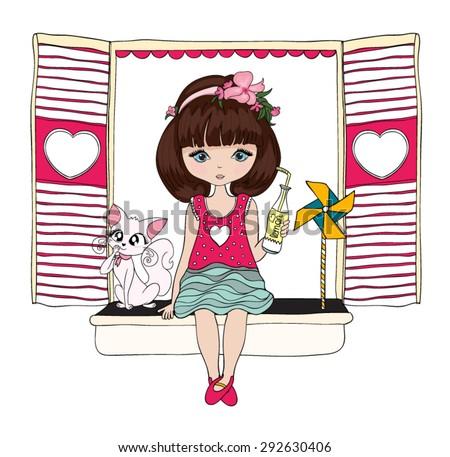 Beautiful romantic girl/cute girl/T-shirt Graphics/illustration princess girl/Vector Cute beautiful fashionable girl/design for children's books/happy and romantic girl graphic design   - stock vector