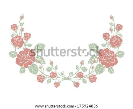 Beautiful rose,Vector ornamental decorative elements design, rose bouquet,Luxury border - stock vector