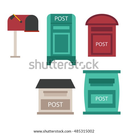 Beautiful Rural Curbside Open Closed Mailboxes Stock Vector