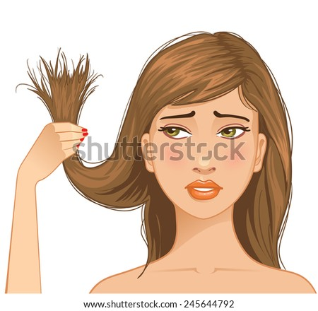 Beautiful sad girl with problem of split ends - stock vector