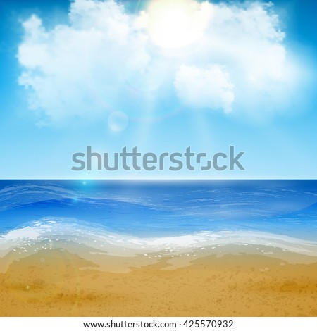 Beautiful sand of beach scene background with great weather. Vector illustration. - stock vector