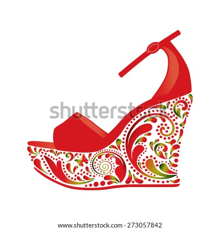 Beautiful sandals. Isolated object. - stock vector