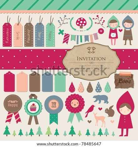 Beautiful Scrapbook Collection for Party, Photo, Fun, Girl Design. Vector Illustration - stock vector