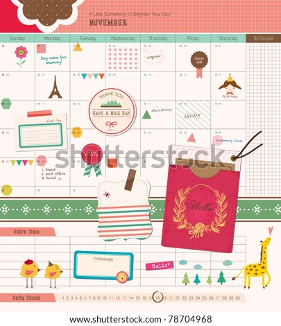 Beautiful Scrapbook Elements - GIrl Diary. Perfect for Scrapbook, Sticker, Photo. Vector Illustration. - stock vector