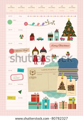 Beautiful Scrapbook Elements - My Christmas Diary