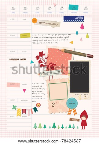 Beautiful Scrapbook Elements - My Paris Travel Diary - stock vector