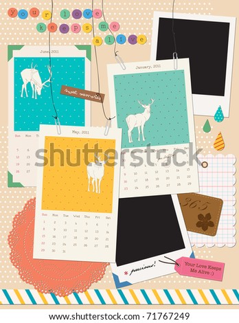 Beautiful Scrapbooking Elements - Instant Film + Calendar - stock vector