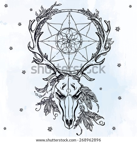 Beautiful scull tattoo line art. Vintage deer, bull, elk, horns. Antlers with branches, leaves dream catcher with stars feathers. Hand drawn. Vector illustration. Isolated. Ink on grunge background. - stock vector