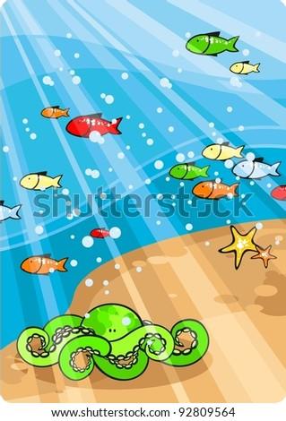 Beautiful sea life - stock vector