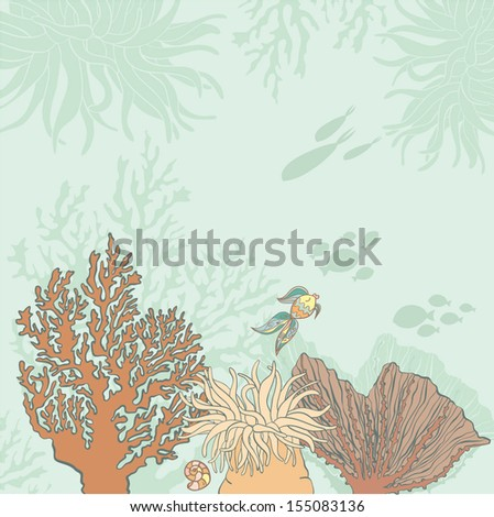 Beautiful sea life background with corals, fish, fossils drawn in vector using gentle colors. Perfect marine pattern in tropical colors. - stock vector