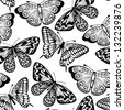 Beautiful seamless background of butterflies black and white colors. Many similarities to the author's profile - stock vector
