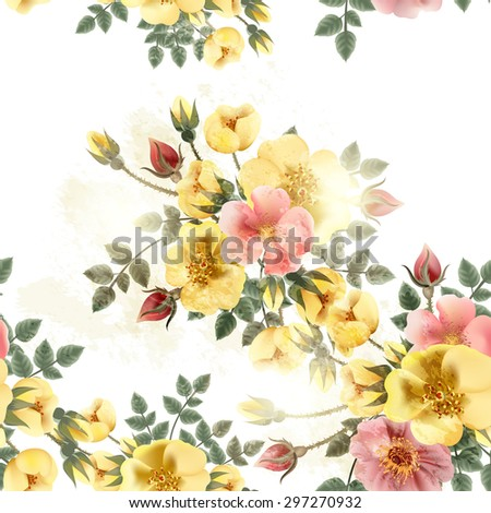 Beautiful seamless background with old-styled roses - stock vector