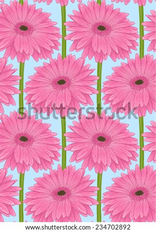 Beautiful seamless background with pink gerbera flower with a stem. Hand-drawn with effect of drawing in watercolor - stock vector
