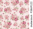 Beautiful Seamless color rose pattern on pink background, vector illustration - stock photo