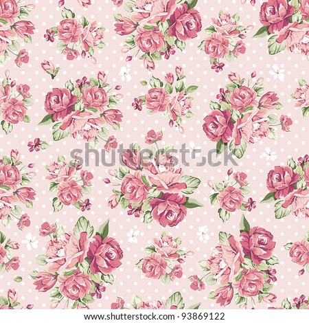 Beautiful Seamless color rose pattern on pink background, vector illustration - stock vector