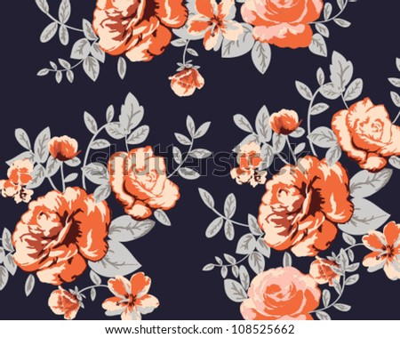 Beautiful Seamless color roses in dusk tone for 2013 -2014 autumn and winter - stock vector