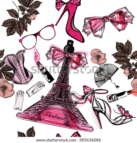 Beautiful seamless fashion background with perfume Eifel tower shoes sandals flowers and lipstick - stock vector