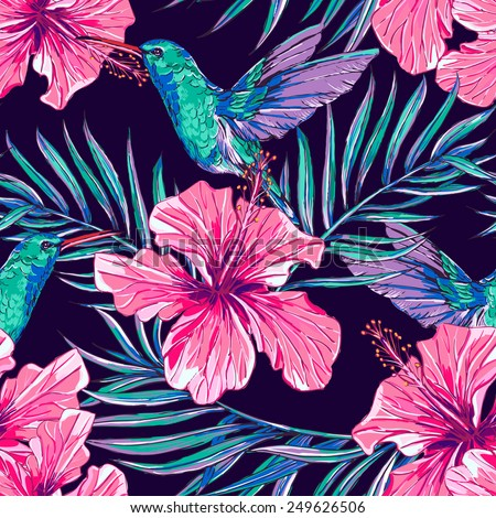 Beautiful seamless floral exotic jungle pattern background. Tropical flowers with hummingbirds, palm leaves - stock vector