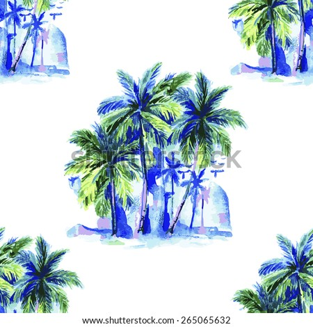 Beautiful seamless floral pattern background. Landscape with watercolor palm trees - stock vector