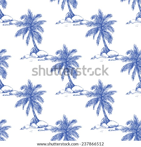 Beautiful seamless floral pattern background. Palm trees