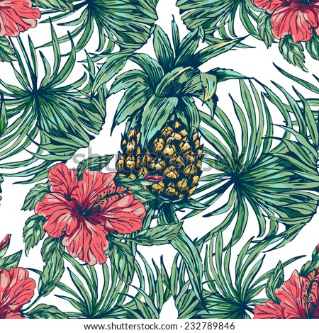 Beautiful seamless floral pattern background. Tropical flowers, plants and pineapple  - stock vector