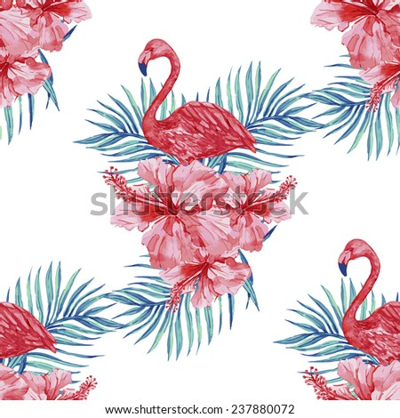 Beautiful seamless floral pattern background with watercolor pink flamingos, tropical flowers and palm leaves, hibiscus - stock vector