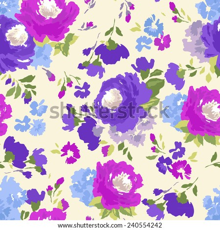 Beautiful seamless floral pattern. Flower vector background. - stock vector
