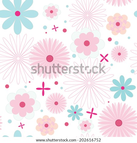 Beautiful seamless floral pattern, flower vector illustration.  - stock vector