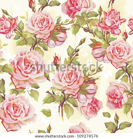 Beautiful seamless floral pattern, flower vector illustration. Elegance wallpaper with of pink roses on floral background. - stock vector