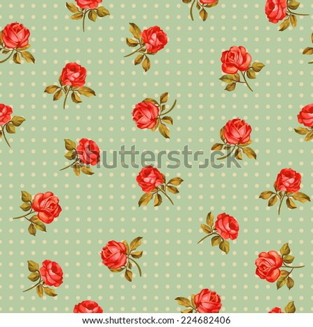 Beautiful seamless floral pattern, flower vector illustration. Elegance wallpaper with of pink roses on floral background. Decorative Beautiful vector illustration texture.  - stock vector
