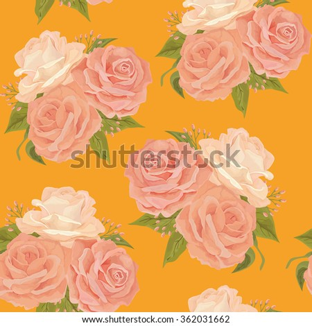 Beautiful seamless floral pattern, flower vector illustration. Elegance wallpaper with  pink roses on yellow background. Background for web pages, wedding invitations, save the date cards. EPS 8 - stock vector