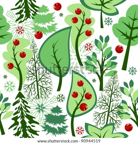 Beautiful seamless green pattern with trees and berries - stock vector
