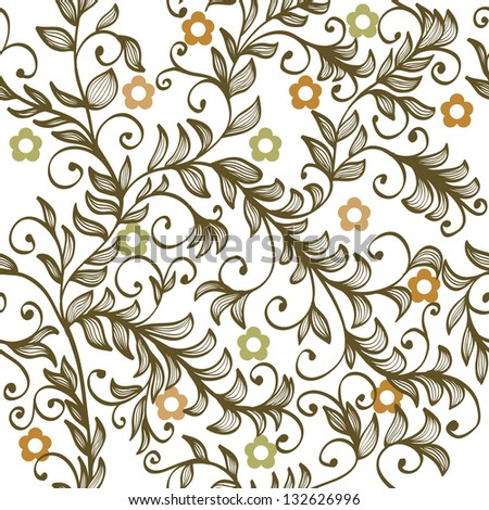 Beautiful seamless hand drawn elegant floral background with branches and flowers - stock vector